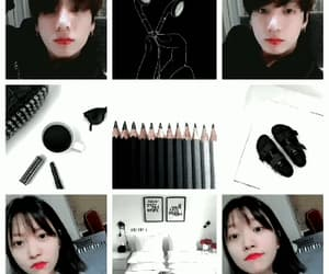 black and white, gif, and kpop image