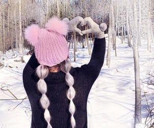 girl, long hair, and snow image