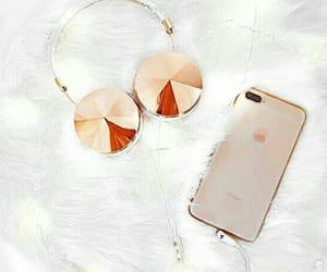 golden, headphones, and monday image