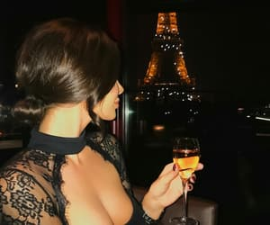 black dress, women, and champagne image