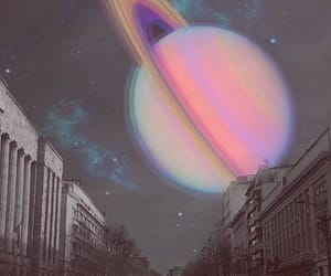 planet, saturn, and city image