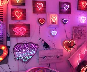pink, neon, and hearts image