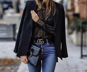black top, blazer, and black blouse image