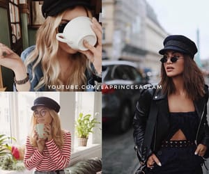 black, cap, and fashion image