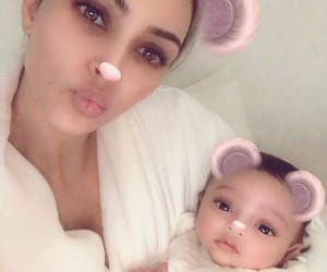 kim kardashian, chicago west, and baby image