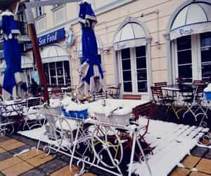 architecture, restaurant, and snow image