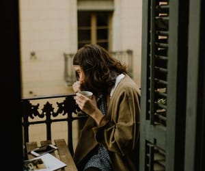 coffee, girl, and balcony image