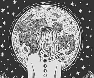 girl, drawing, and moon image