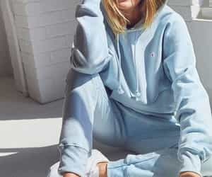 outfit, soft blue, and sweatshirt image