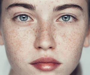 beauty, freckles, and blue eyes image