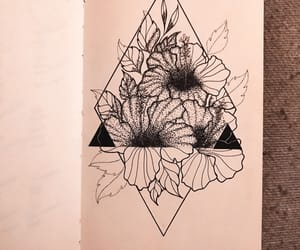 black and white, drawing, and floral image