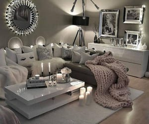 decor, living room, and white image