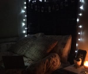bedroom, candle, and lights image