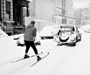 retro car, ski, and Skiing image