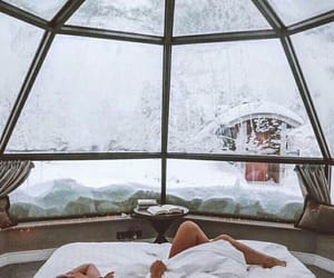 snow, winter, and bed image