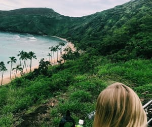 blonde, girl, and hiking image