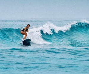 blue, ocean, and surfer girl image