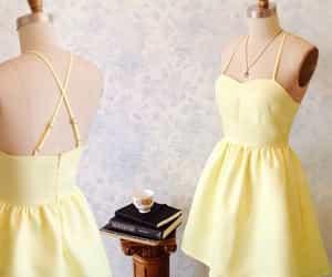 short dress, homecoming dress, and yellow dress image