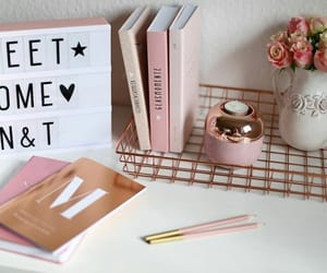 books, home, and pink image