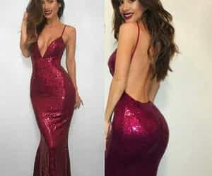 prom dress, backless prom dress, and sequin prom dress image
