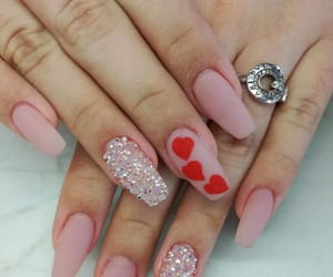 glitter, hearts, and nails image