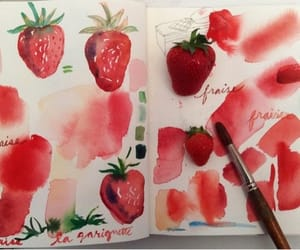 strawberry, red, and art image