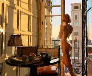 art, sun, and girl image