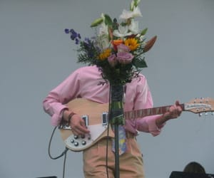 flowers, guitar, and pink image