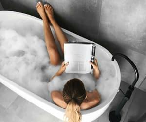 bath, girl, and book image