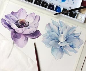 art, flowers, and blue image