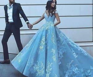 couple, dress, and blue image