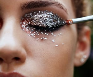 girl, makeup, and silver image
