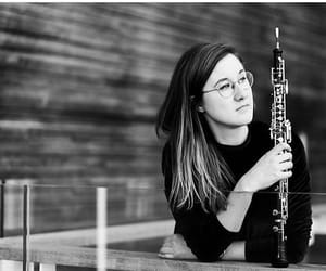 girl, oboe, and music image