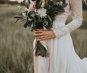 dress, flowers, and wedding image