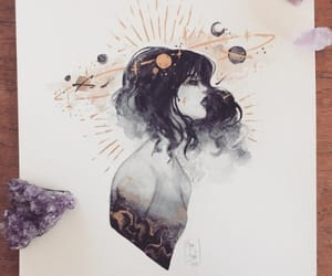 art, girl, and planets image