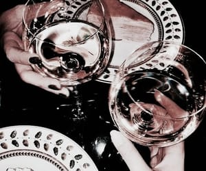 drink, champagne, and dark image