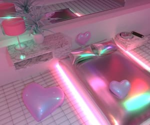 pink, neon, and bedroom image
