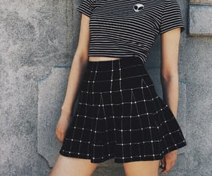 outfit, skirt, and striped shirt image