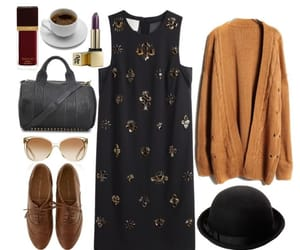 brown, dress, and lookbook image