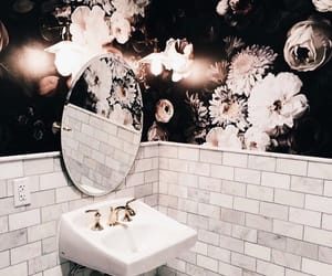 bathroom, flowers, and interior image