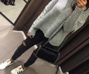 clothes, black and gray, and style image