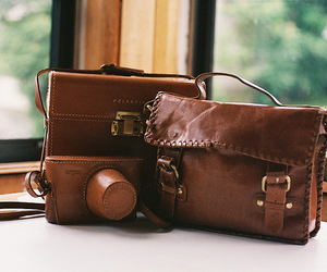 bag, camera, and leather image