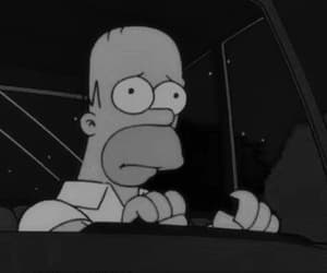 gif, black and white, and simpsons image