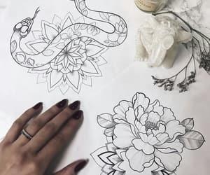 art, snake, and flower image