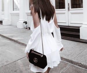 black, dress, and purse image