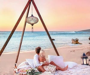beach, dreamy, and couple image