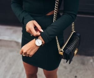 black, dress, and purse image