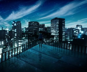 anime, night, and outside image