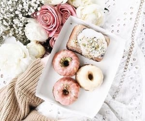 food, donuts, and flowers image
