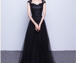 black dress, formal dress, and evening wear image